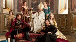 Aidan Alexander as Joffre Borgia, David Oakes as Juan Borgia Joanne Whalley as Vanozza dei Cattanei, Jeremy Irons as Rodrigo Borgia, Lotte Verbeek as Guilia Farnese, Francois Arnaud as Cesare Borgia, and Holliday Grainger as Lucrezia Borgia in The Borgias _ Photo: Mark Seliger/SHOWTIME_ Photo ID: TheBorgias_gal_PR09_AltarHORIZ