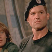 "James Spader (left) and Kurt Russell in the film ""Stargate."""